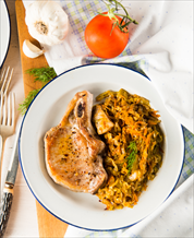 Pan-Seared Pork Chops with Sauerkraut