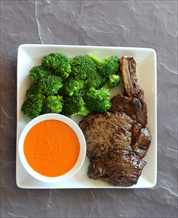 Pan-Seared Ribeye with Broccoli and Macadamia Romesco