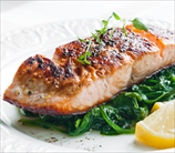 Pan Seared Salmon and Creamed Leeks with Spinach
