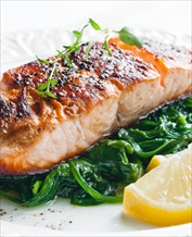 Pan Seared Salmon with Creamed Leeks and Spinach