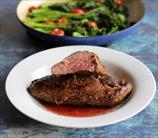 Perfect Pan-Seared Teres Major Steaks with Broccoli Raab and Grape Tomatoes