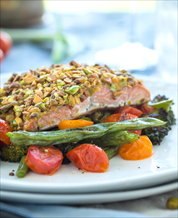 Pistachio-Crusted Wild Salmon and Mixed Green Salad with Avocados and Citrus Vinaigrette