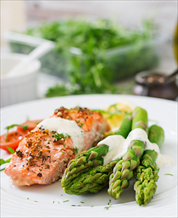 Poached Wild Salmon with Asparagus and Hollandaise