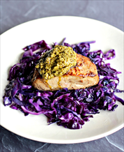 Pork Chops with Braised Red Cabbage and Basil Pesto