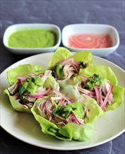 Pork Taco Lettuce Wraps with Pickled Red Onion and Cilantro Chimichurri