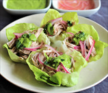 Pork Taco Lettuce Wraps with Quick Pickled Onions