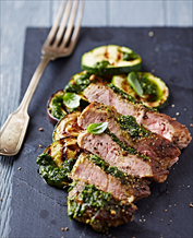 Pork Tenderloin with Zucchini and Cilantro Chimichurri