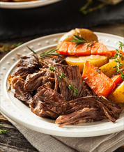 Instant Pot Beef Pot Roast with Roasted Carrots + Brussels