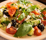 Quinoa Salad with Grape Tomatoes, Kalamata Olives & Basil