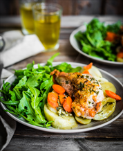 Roast Chicken Breast with Rutabagas, Carrots + Arugula