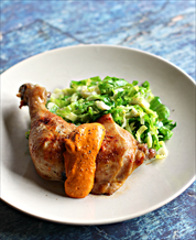 Roast Chicken with Romesco and Superfat Brussels Sprouts