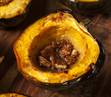 Roasted Acorn Squash with Coconut Sugar, Butter and Pecans
