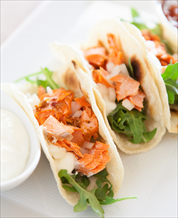 Salmon Soft Tacos and Kale Avocado Salad