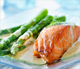 Sauteed Salmon with Hollandaise Sauce and Roasted Asparagus