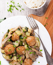 Savory Chicken Meatballs with Zucchini and Portabellas