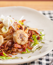 Scallop-Bacon Zoodle Bowl
