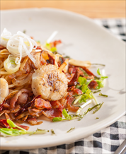 Scallop and Noodle Bacon Bowl