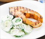 Seared Salmon and Creamy Cucumber Salad