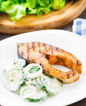 Seared Salmon with Creamy Cucumber Salad