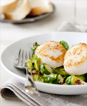 Seared Wild Scallops and Brussels Sprouts with Roasted Sweet Potatoes