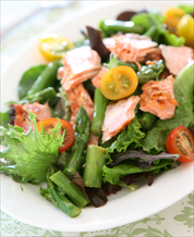 Seared Wild Salmon Salad with Sesame Ginger Dressing