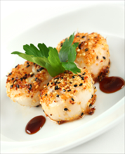 Sesame Scallops with Orange-Fennel Salad & Broccoli Rabe
