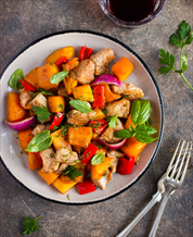 Sheet Pan Chicken with Sweet Potatoes and Peppers