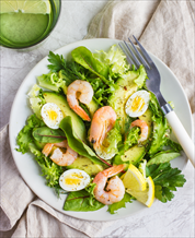 Shrimp, Egg and Avocado Salad with Lemon Vinaigrette