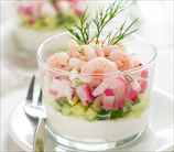 Shrimp, Radish & Cucumber Mason Jar Salad With Creamy Dill Dressing