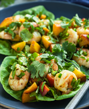 Shrimp Taco Wraps with Peaches and Avocado-Lime Dressing
