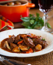 Slow Cooker Beef Bourguignon, Winter Squash & Simple Mixed Green Salad