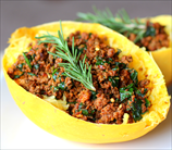 Smoky Bison Stuffed Spaghetti Squash