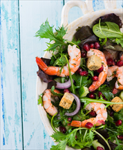 Spicy Shrimp with Pomegranate-Orange Salsa over Mixed Greens
