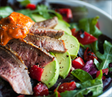 Steak, Arugula and Avocado Salad with Roasted Red Peppers
