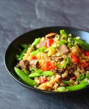 Steak Fried Cauliflower Rice and Turmeric Latte