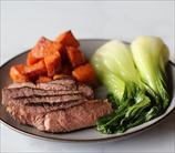 Steak with Bok Choy and 5-Spice Sweet Potatoes