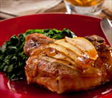 Sweet and Sour Apple Pork Chop with Swiss Chard