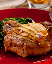 Sweet and Sour Pork Chops with Apples, Swiss Chard and Mashers