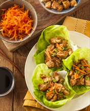 Thai Lettuce Wraps with Chicken, Spicy Peanut Sauce and Stir Fry Veggies