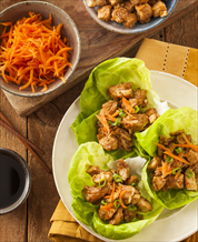 Thai Lettuce Wraps with Chicken and Organic Peanut Sauce with Miso Soup