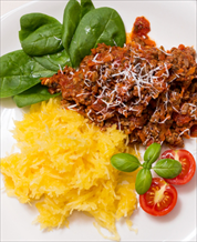 Turkey Bolognese and Spaghetti Squash with Mixed Green Salad and Creamy Vinaigrette