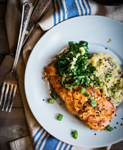 Wild Salmon with Creamy Mashers and Garlic-Butter Spinach