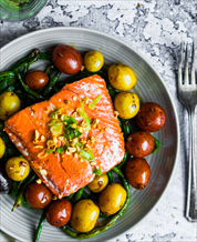 Wild Salmon with Olives and Aspargus
