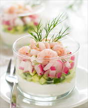 Wild Shrimp, Radish and Cucumber Salad with Creamy Dill Dressing