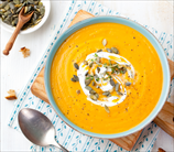 Winter Squash Soup with Goat Cheese and Pumpkin Seeds