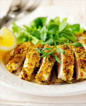 Pecan Crusted Chicken with Garlic Greens