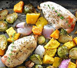 One-Pan Harvest Chicken with Brussels Sprouts and Butternut Squash
