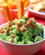 Guacamole and Veggie Sticks Snack