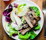 Asian Flank Steak with Pear + Cabbage Salad