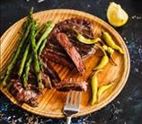 Pan-Grilled Flank Steak + Asparagus